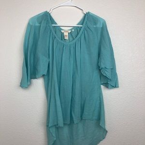 Sundance light blue sheer gauzy hi low blouse